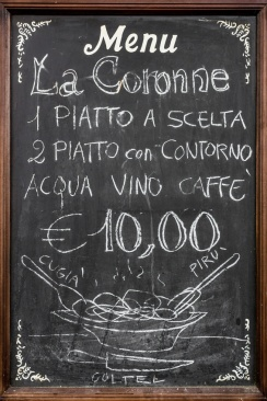 A blackboard used as menu, in an Italian restaurant.